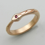 Other Rings 2-5: Snake with a ruby and diamond eyes in rose gold