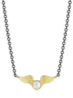18k Yellow Diamond Victory Necklace with Sterling Silver Chain