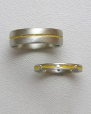 Bands 1-3: His and Hers bands in platinum with 24k inlay and small diamonds