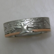 Bands 3-7: Tree style in white gold with a rose gold accent