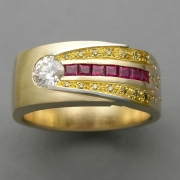 Bands 4-1: Round cut diamond with Princess cut rubies and small yellow diamonds in 14k yellow gold with 24k inlay