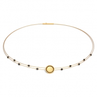 24karat Gold Plated Sterling Silver and Black Spinel Necklace