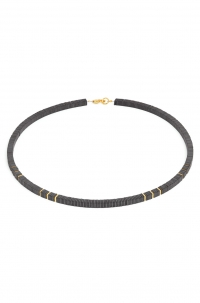 24karat Gold Plated Sterling Silver and Hematine Necklace
