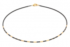 24karat Gold Plated and Hematine Necklace