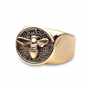 14K Yellow gold Bee Signet Ring
