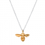 14K Yellow gold Bee on Silver chain