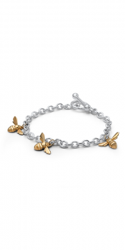 Sterling Silver bracelet with 14K Yellow gold Bees