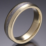Wood grain pattern Damascus Stainless Steel ring with 18k Yellow gold lining
