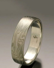 Mokeme Gane River pattern in 14kt. White Gold and Silver, flat band style