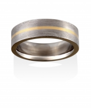 Starlight pattern Damacus Stainless Steel with center narrow channel of 18k Yellow gold
