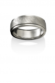 Storms Eye pattern Naked Damascus Stainless Steel ring with stepped polished narrow rails