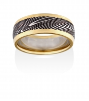 Thor pattern Damascus Stainless Steel ring with wide 18k Yellow rails