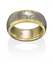 X pattern Damascus Stainless Steel ring with wide 18k Yellow gold rails
