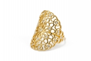 18k Yellow gold Large Tattoo Ring with Diamonds