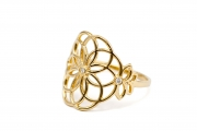 18k Yellow gold Tattoo Ring with small Diamonds