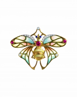 Masriera 18kt. Yellow gold Cloisonne Enamel, Diamond and Ruby Bumblebee brooch