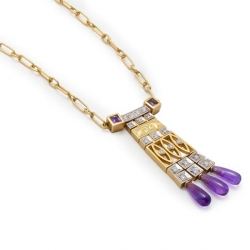 Masriera 18kt. Yellow gold, Amethyst and Diamond necklace