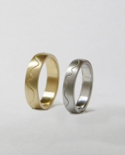 Pair of 14karat Yellow and White gold curved wall bands copy