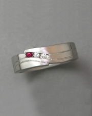 Platinum band set with Ruby and Diamond copy