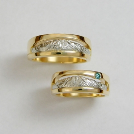 Mountain Bands 1-11: Platinum and 18kt. yellow gold Pikes Peak Mountain Bands with blue diamond