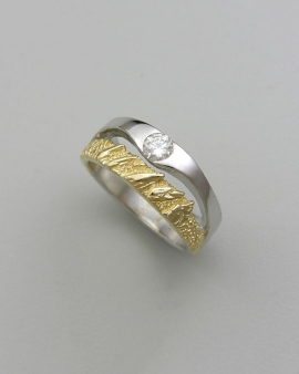 Mountain Bands 1-3: 18kt. yellow gold and 14kt. white gold two-tone Flatirons band with diamond