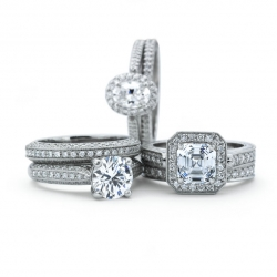 Flush Fit Engagement rings and Wedding bands available in White gold, Platinum, Yellow gold or Rose gold