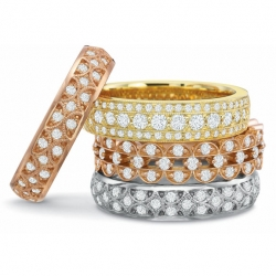 Lattice Diamond bands available in White gold, Platinum, Yellow gold or Rose gold