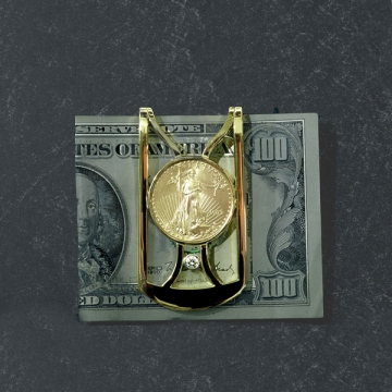 18kt. Yellow Gold and diamond money clip