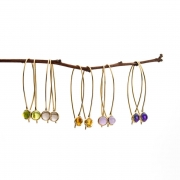 Recycled Yellow gold Comet earrings set with semi-precious Cabochon stones