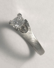 Engagement Ring 2-6: Princess cut diamond square prong set in platinum