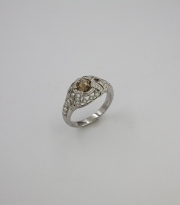 18k White gold Vintage Inspired ring with center Cognac Rose cut Diamond